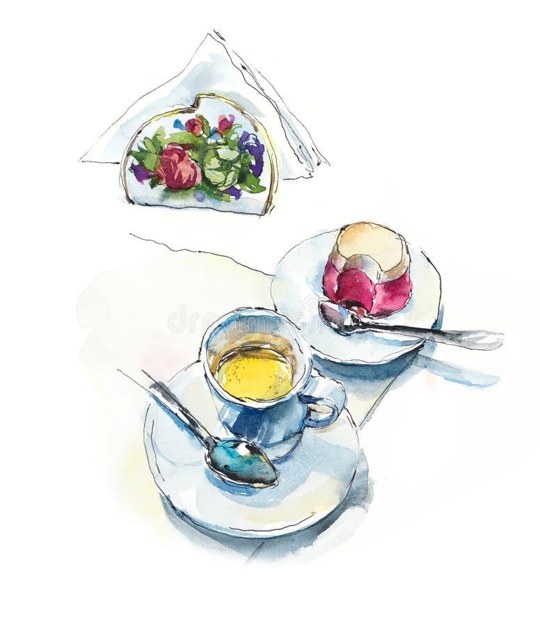 Καφές και κέικ στον καφέ Ζωγραφισμένη στο χέρι απεικόνιση Watercolor διανυσματική απεικόνιση