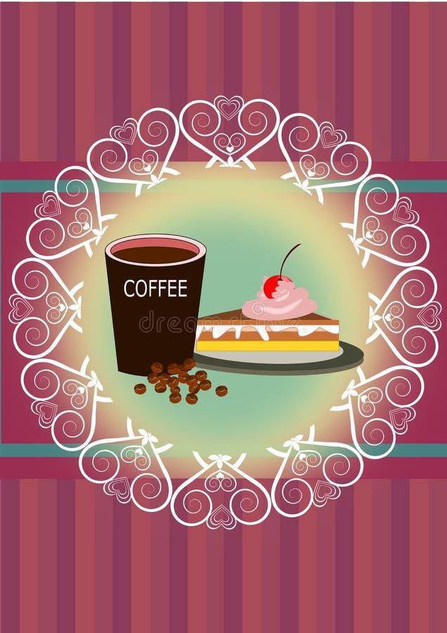 Καφές και κέικ απεικόνιση αποθεμάτων