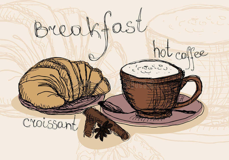 Καφές και croissant απεικόνιση αποθεμάτων