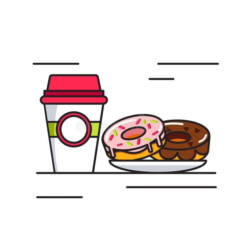 Καφές και donuts εικονίδιο απεικόνιση αποθεμάτων