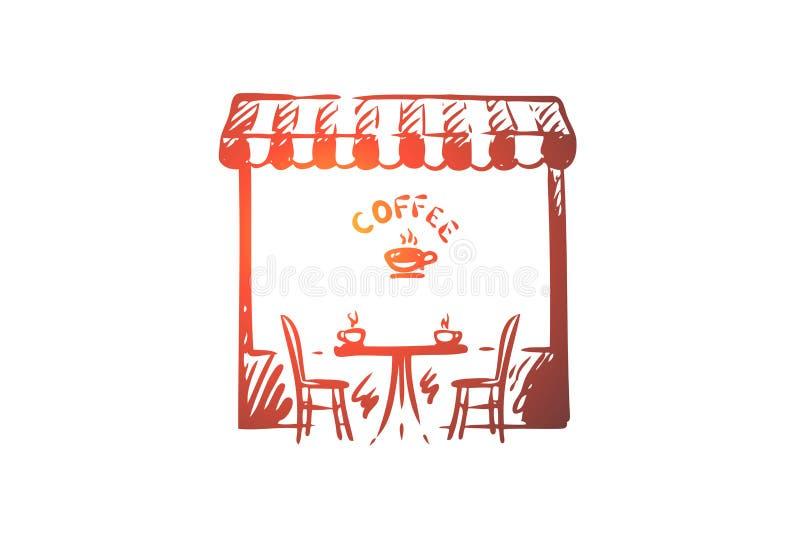 Καφές, κατάστημα, καφές, φλυτζάνι, έννοια ποτών Συρμένο χέρι απομονωμένο διάνυσμα απεικόνιση αποθεμάτων