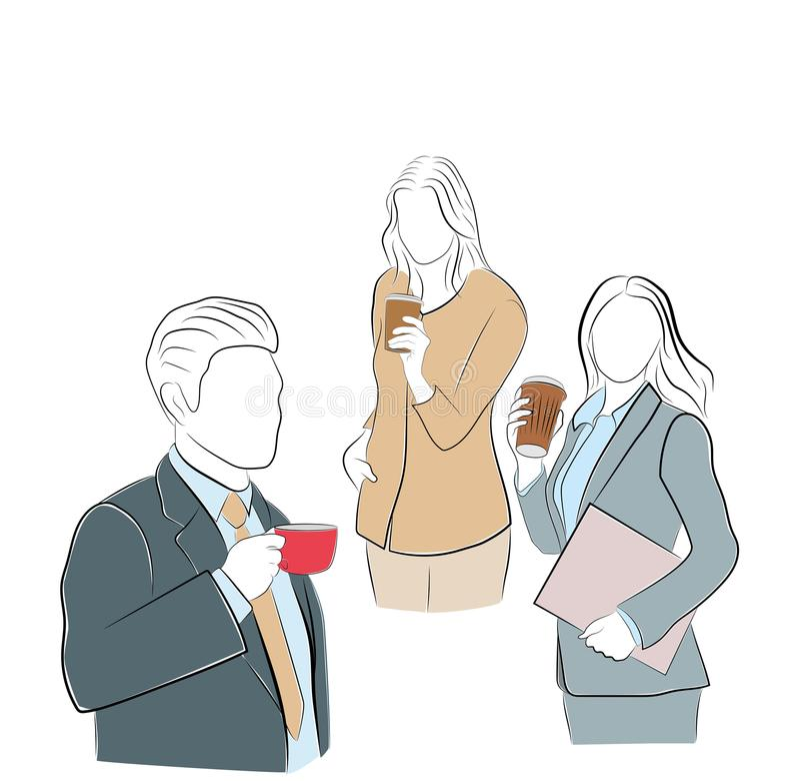 Καφές κατανάλωσης επιχειρηματιών και επιχειρηματιών croissant γλυκό φλυτζανιών καφέ σπασιμάτων ανασκόπησης επίσης corel σύρετε το διανυσματική απεικόνιση