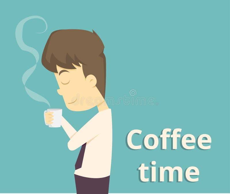 Καφές κατανάλωσης επιχειρηματιών, χρόνος σπασιμάτων τσαγιού στο φωτεινό γραφείο car απεικόνιση αποθεμάτων