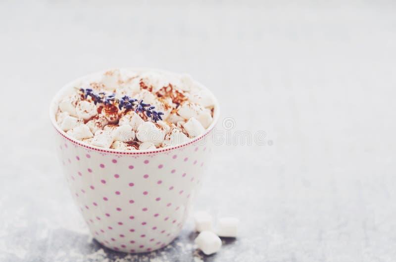Καφές με marshmallow, lavender και την κανέλα στο ρόδινο επισημασμένο φλυτζάνι στοκ εικόνες