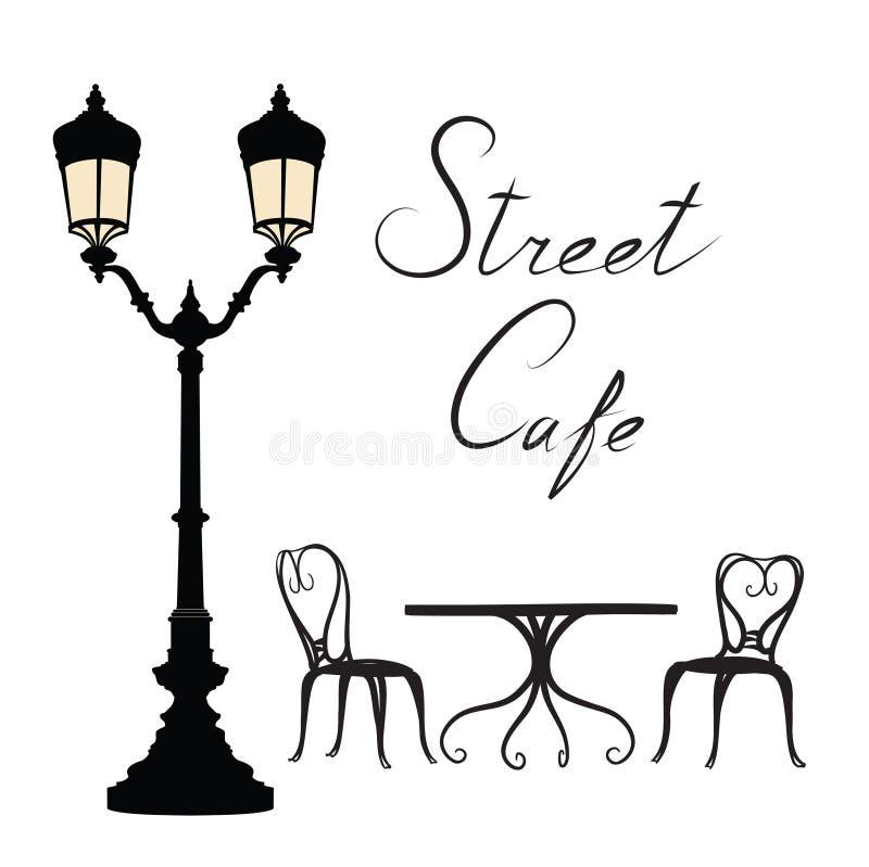 Καφές οδών - πίνακας, καρέκλες, φωτεινός σηματοδότης και ζωή πόλεων εγγραφής διανυσματική απεικόνιση