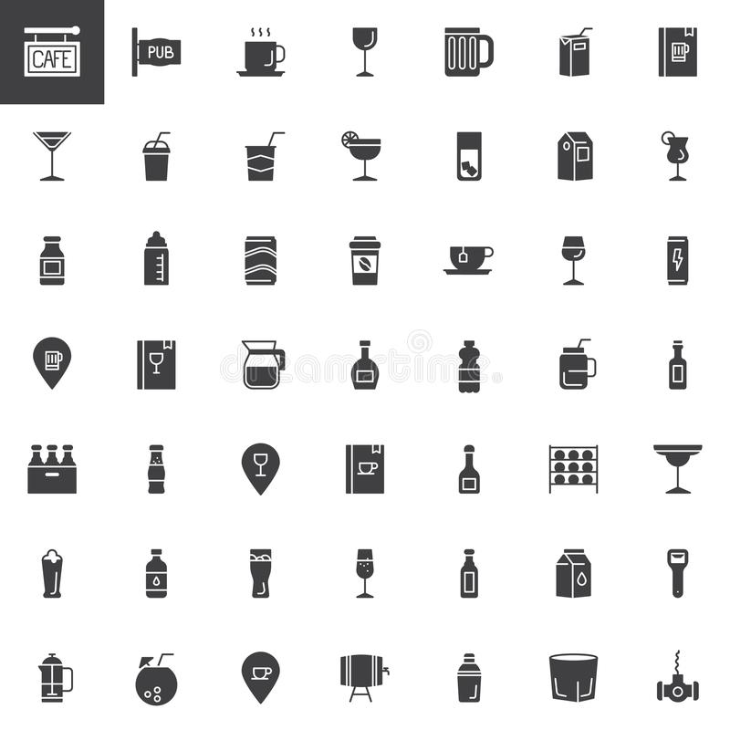 Καφές, ποτά φραγμών και διανυσματικά εικονίδια ποτών καθορισμένοι ελεύθερη απεικόνιση δικαιώματος
