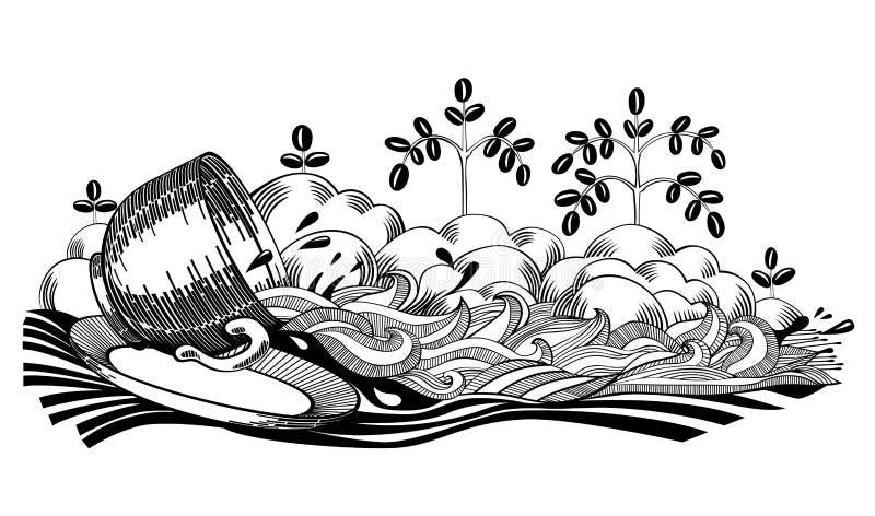 Καφές που ανατρέπεται διανυσματική απεικόνιση