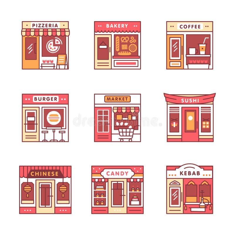 Καφές πόλεων, τρόφιμα και καταστήματα παντοπωλείων ελεύθερη απεικόνιση δικαιώματος