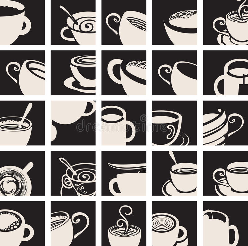 Καφές συλλογής και φλυτζάνι τσαγιού διανυσματική απεικόνιση