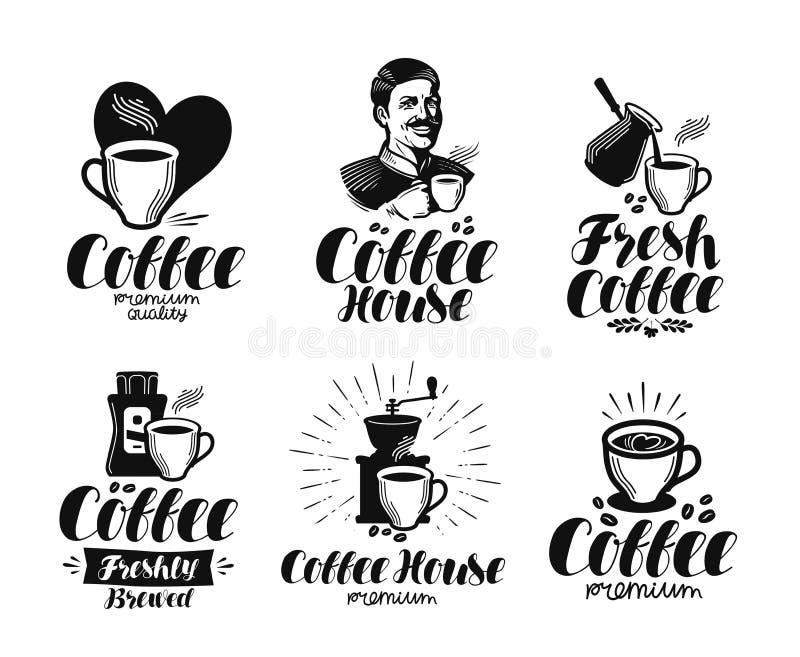 Καφές, σύνολο ετικετών espresso Καφές, καφέ, καφετέρια, καυτό σύμβολο ποτών ή λογότυπο Γράφοντας διανυσματική απεικόνιση διανυσματική απεικόνιση