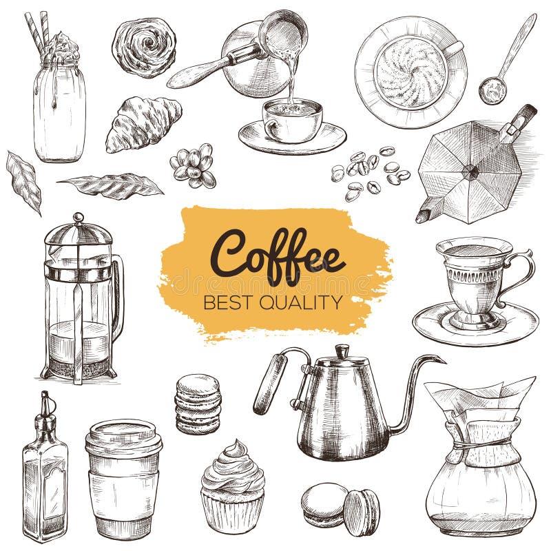 Καφές Σύνολο συρμένων χέρι στοιχείων διανυσματική απεικόνιση