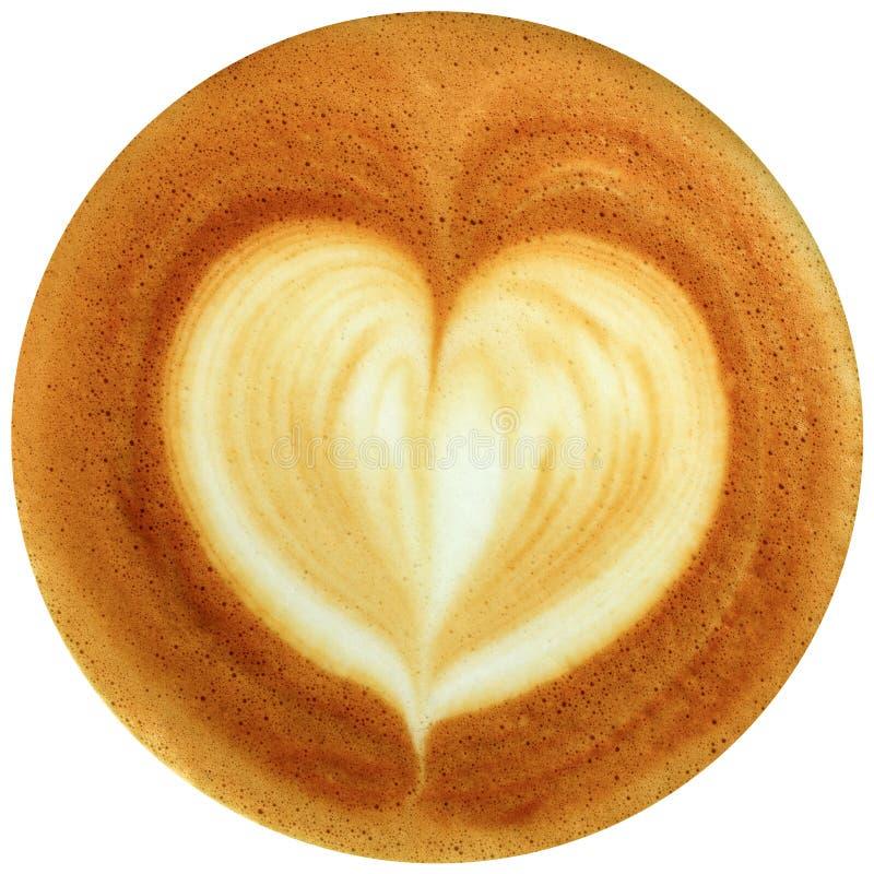 Καφές τέχνης Latte που απομονώνεται στο άσπρο υπόβαθρο στοκ εικόνα με δικαίωμα ελεύθερης χρήσης