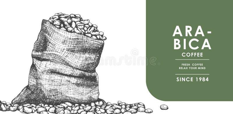 Καφές όντας sackcloth στην απεικόνιση για την αφίσα ή ένα άλλο πρότυπο απεικόνιση αποθεμάτων