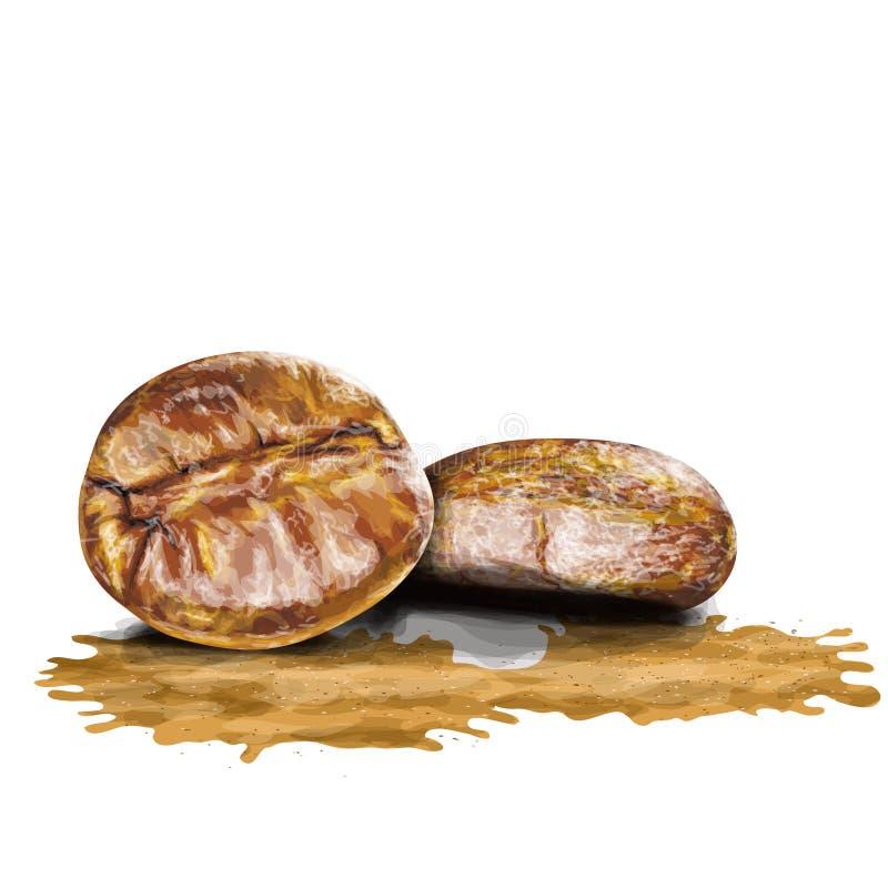 Καφές beens και σχέδιο παφλασμών στην τέχνη watercolor απεικόνιση αποθεμάτων