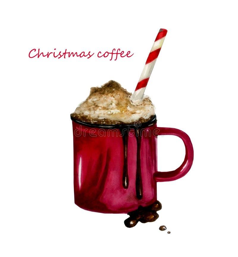 Καφές cristmas watercolor απεικόνισης απεικόνιση αποθεμάτων