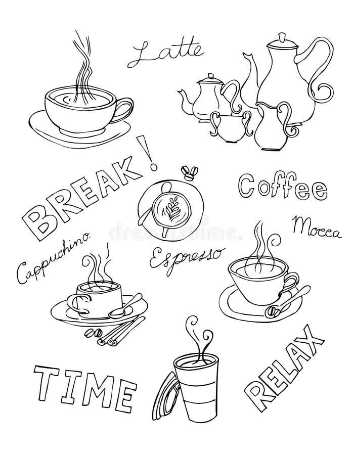 Καφές doodle στοκ εικόνες