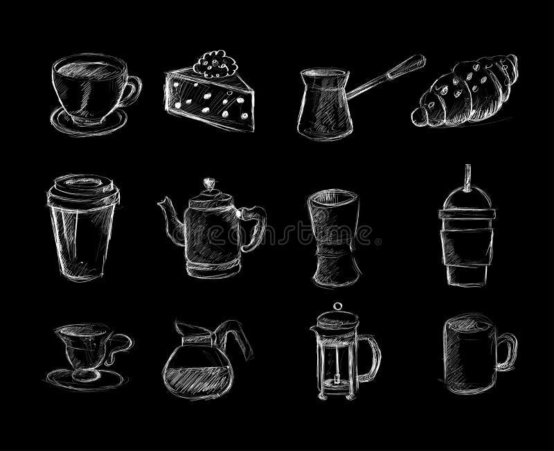 Καφές doodles διανυσματική απεικόνιση