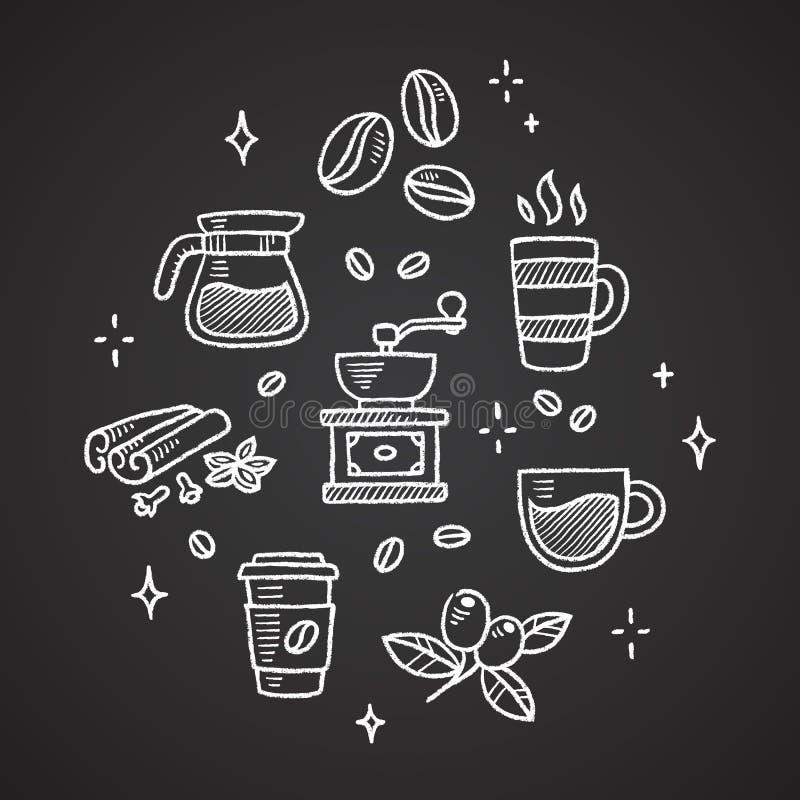 Καφές doodles απεικόνιση αποθεμάτων