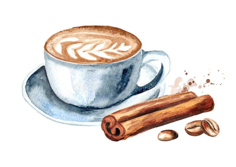 Καφές latte με τα φασόλια κανέλας και καφέ Συρμένη χέρι απεικόνιση Watercolor, που απομονώνεται στο άσπρο υπόβαθρο ελεύθερη απεικόνιση δικαιώματος