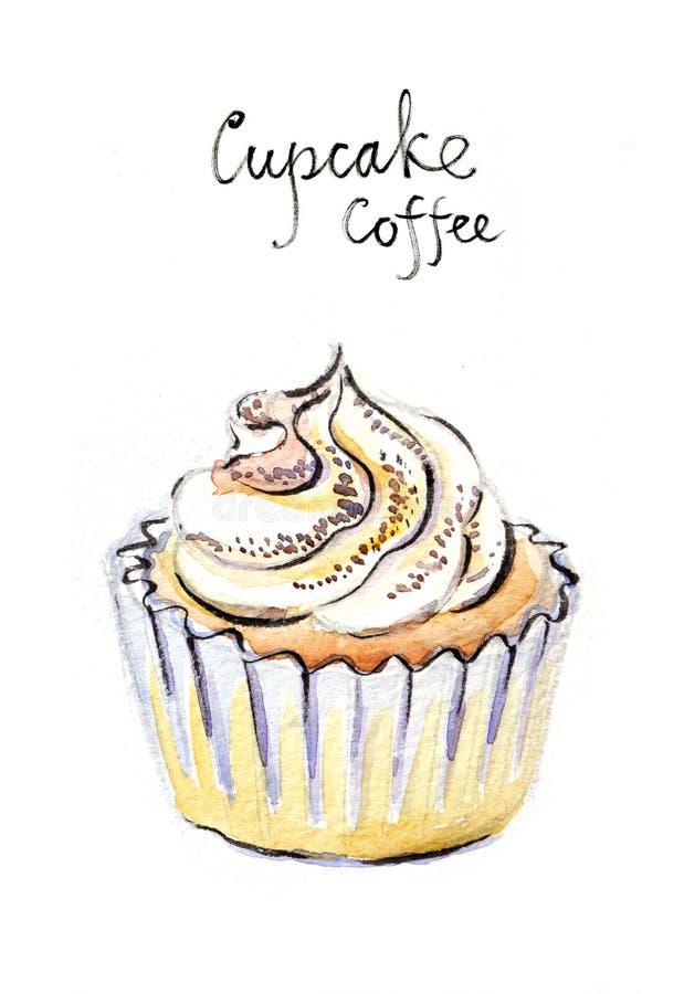 Καφές Watercolor cupcake διανυσματική απεικόνιση