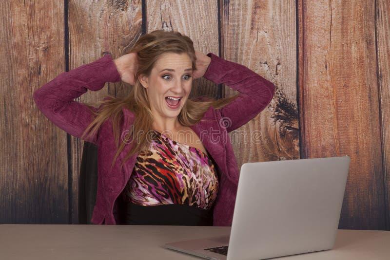 Καφέ γραφείων υπολογιστών γυναικών που φοβάται στοκ εικόνες με δικαίωμα ελεύθερης χρήσης