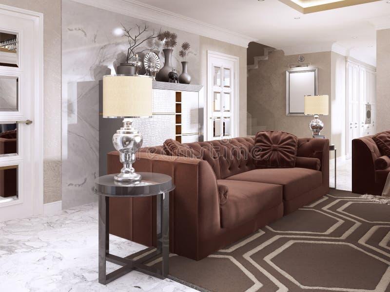 Καφέ καναπές με τους μαύρους δευτερεύοντες πίνακες και επιτραπέζιους τους λαμπτήρες στοκ εικόνες