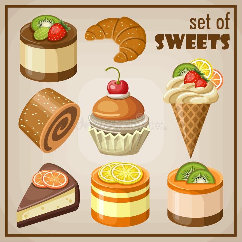 καφέδων σχεδίου καθορισμένα γλυκά εστιατορίων ιδέας συμπαθητικά διανυσματική απεικόνιση