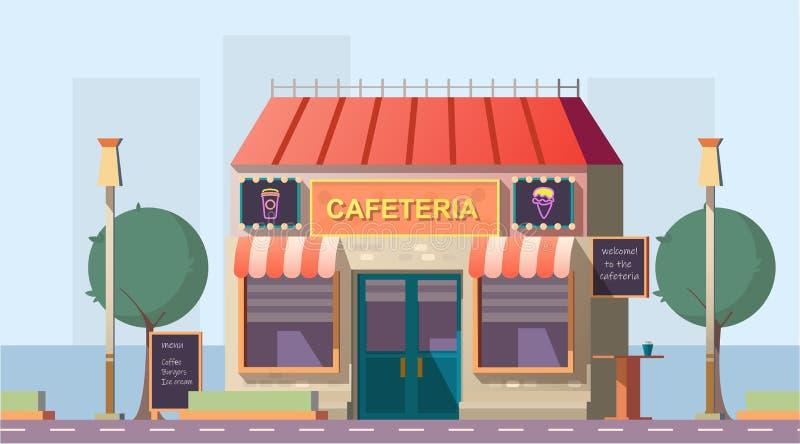 Καφετέρια ακρών του δρόμου ή κτήριο οδικών καφέδων με τις επιλογές διανυσματική απεικόνιση