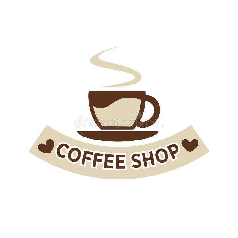 Καφετέρια καφετεριών ή διανυσματικό πρότυπο εικονιδίων ατμού φλυτζανιών καφέδων διανυσματική απεικόνιση