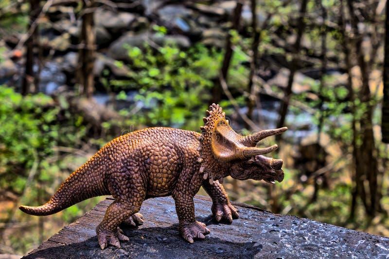 Καφετής δεινόσαυρος Triceratops με τα ξύλα στο υπόβαθρο στοκ εικόνες