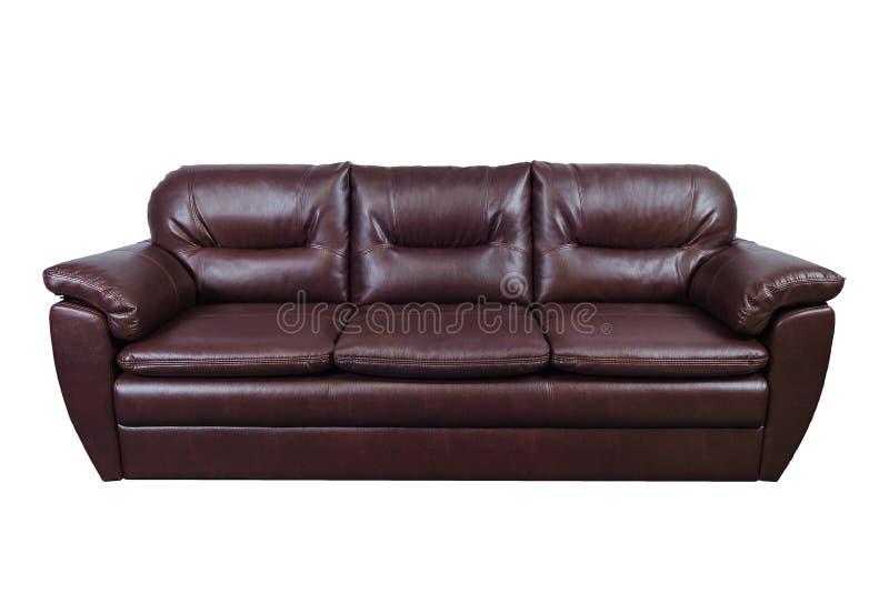 Καφετής καναπές δέρματος που απομονώνεται στο λευκό με το ψαλίδισμα της πορείας στοκ φωτογραφίες με δικαίωμα ελεύθερης χρήσης