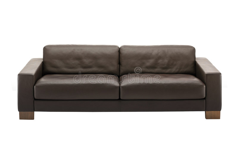 καφετής καναπές δέρματος στοκ φωτογραφία