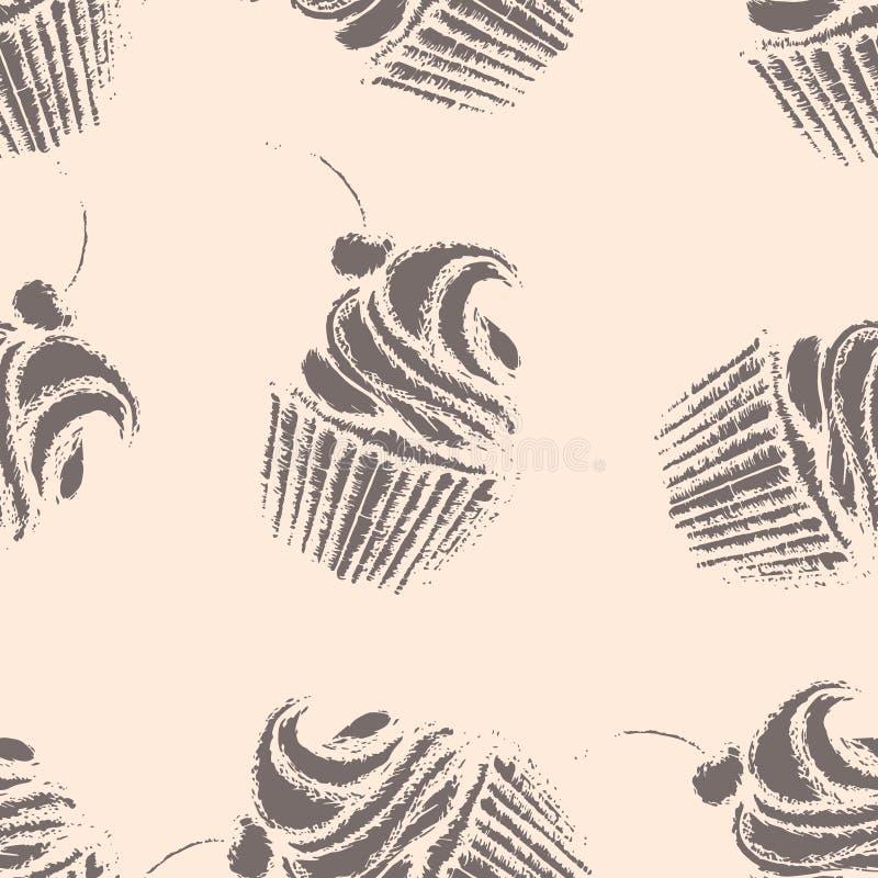Καφετής cupcakes με την κτυπημένα κρέμα και το κεράσι στο μπεζ διανυσματική απεικόνιση