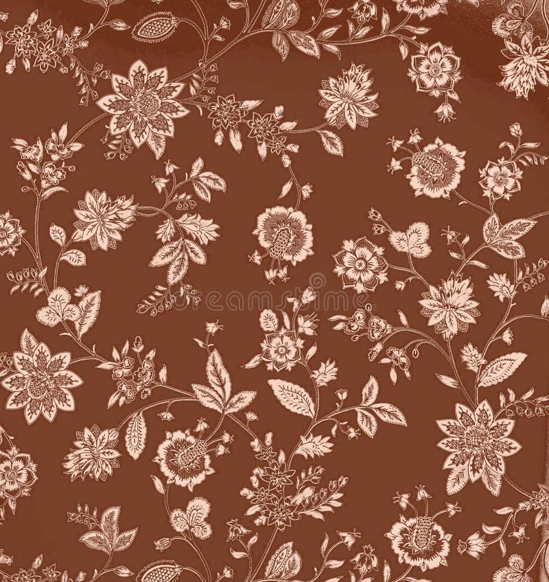καφετής floral τρύγος ανασκόπη&s απεικόνιση αποθεμάτων