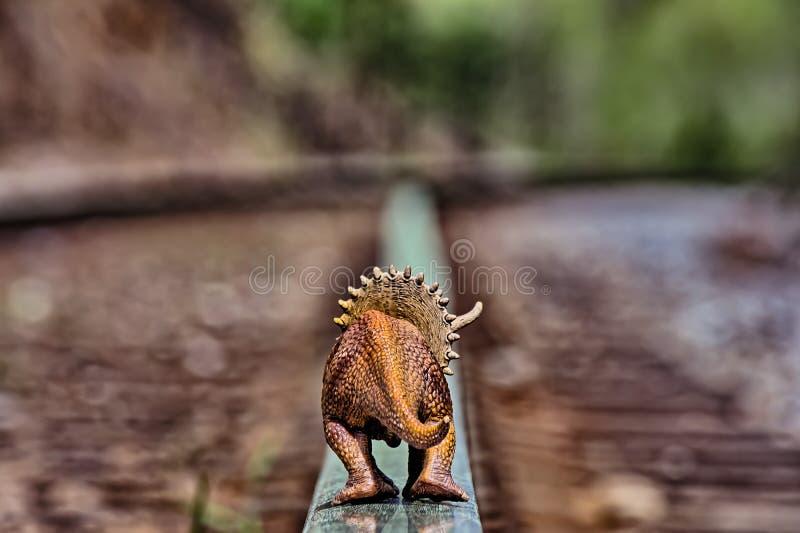 Καφετής triceratops δεινόσαυρος που περπατά μακριά στις διαδρομές σιδηροδρόμου στοκ εικόνες με δικαίωμα ελεύθερης χρήσης