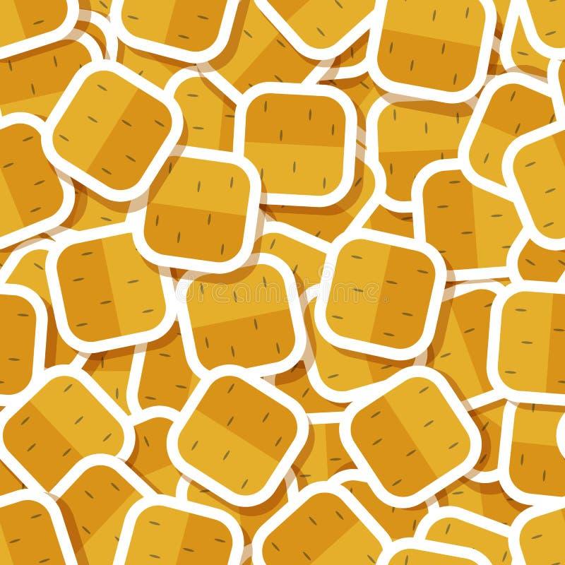 Καφετί άνευ ραφής σχέδιο αυτοκόλλητων ετικεττών πατατών φυτικό ελεύθερη απεικόνιση δικαιώματος