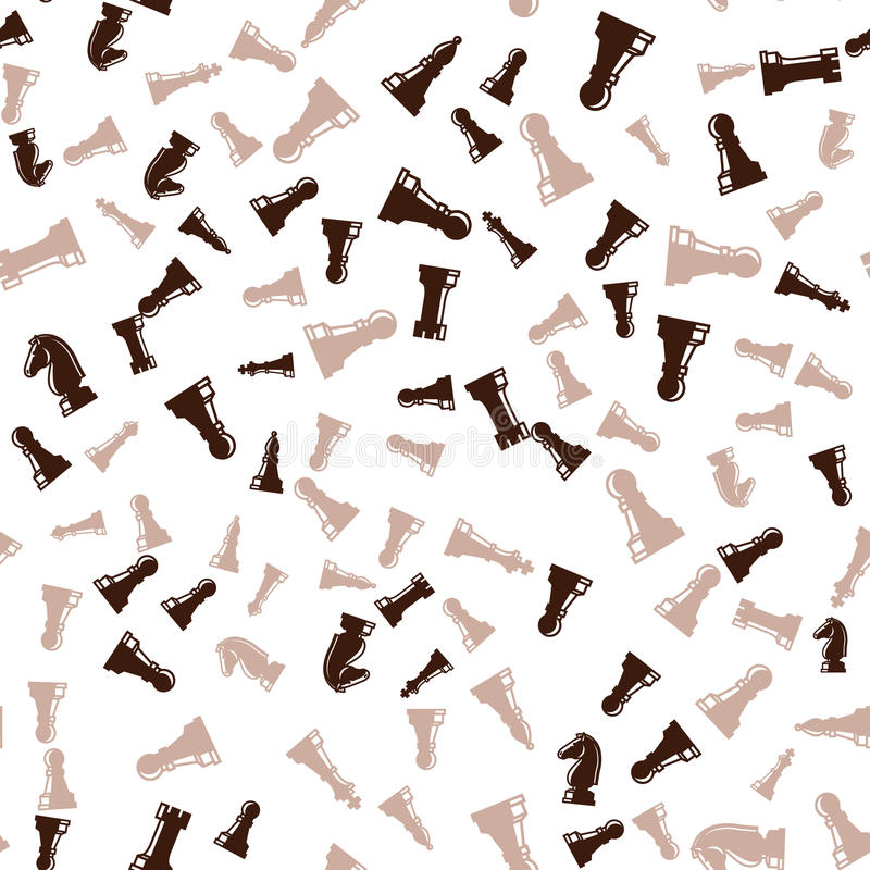 Καφετί άνευ ραφής σχέδιο κομματιών σκακιού διανυσματική απεικόνιση
