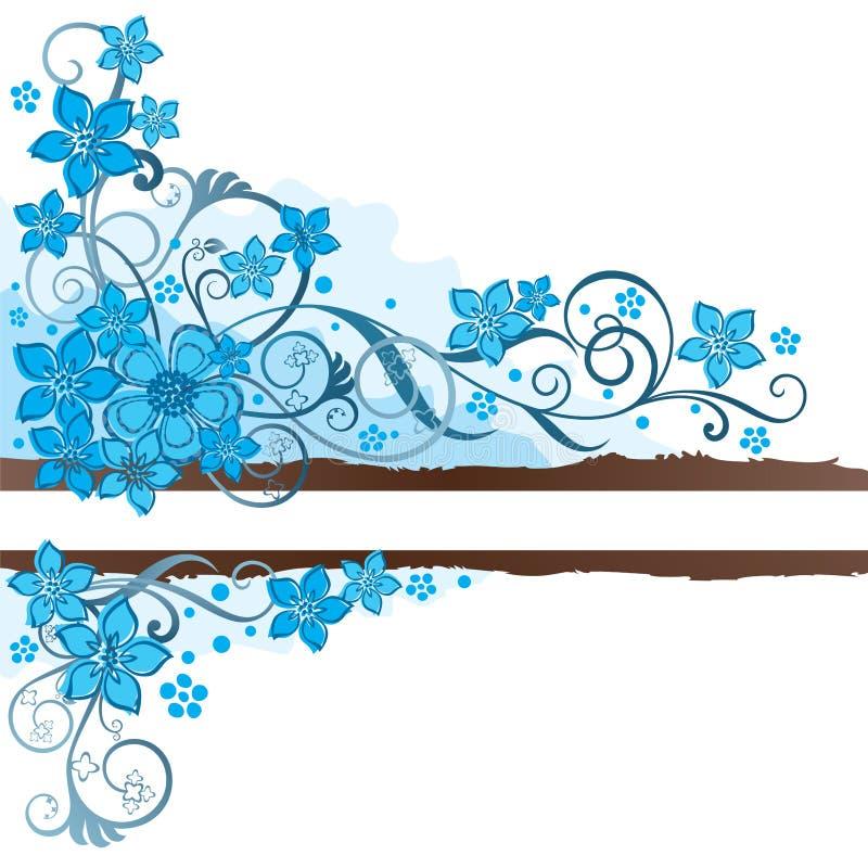 Καφετί έμβλημα grunge με τα τυρκουάζ λουλούδια διανυσματική απεικόνιση