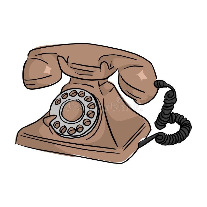 Καφετί αναδρομικό χέρι δραχμές σκίτσων τηλεφωνικής διανυσματικό απεικόνισης doodle ελεύθερη απεικόνιση δικαιώματος