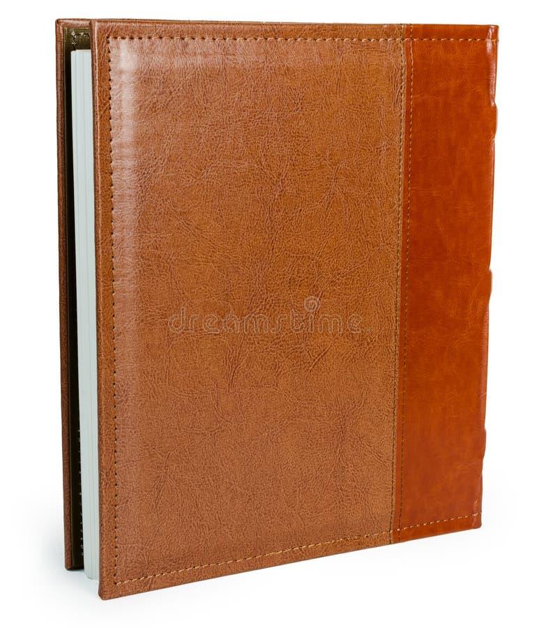 Καφετί βιβλίο δέρματος στο wite backround στοκ εικόνα