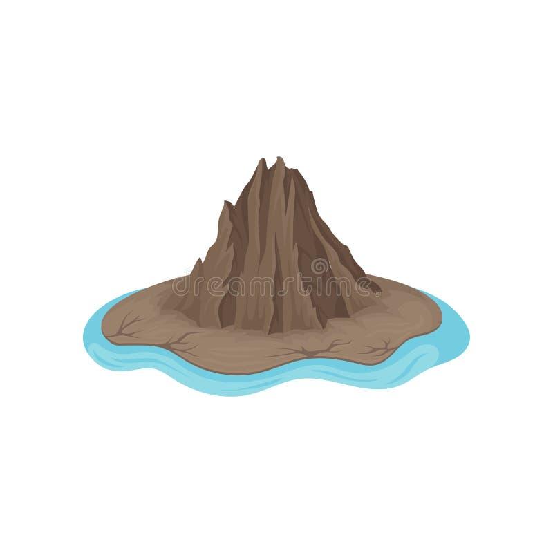Καφετί δύσκολο βουνό που περιβάλλεται από το μπλε νερό νησί ακατοίκητο Θέμα φύσης Επίπεδο διανυσματικό εικονίδιο διανυσματική απεικόνιση