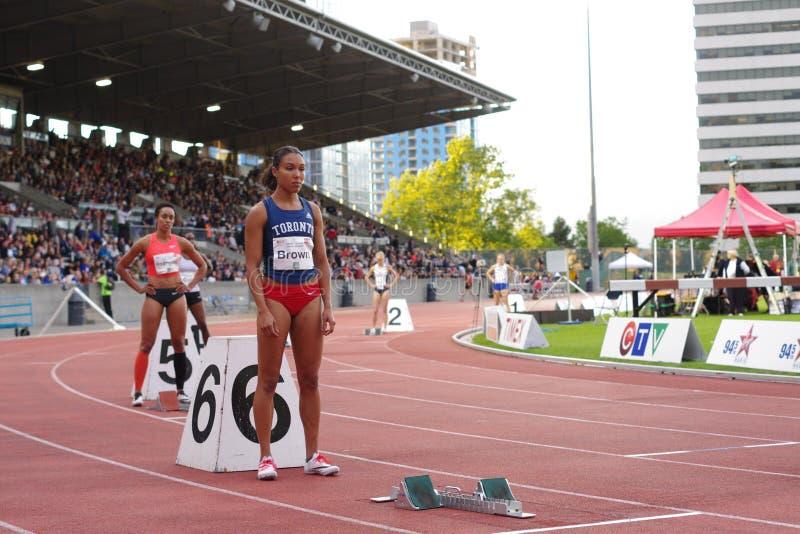 Καφετί, καναδικό 400m sprinter Alicja στοκ φωτογραφία με δικαίωμα ελεύθερης χρήσης