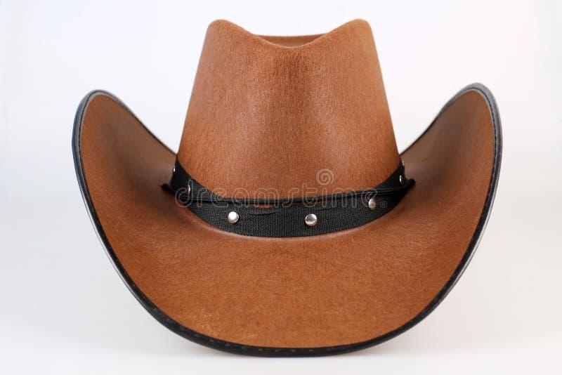 Καφετί καπέλο κάουμποϋ στο λευκό στοκ φωτογραφίες