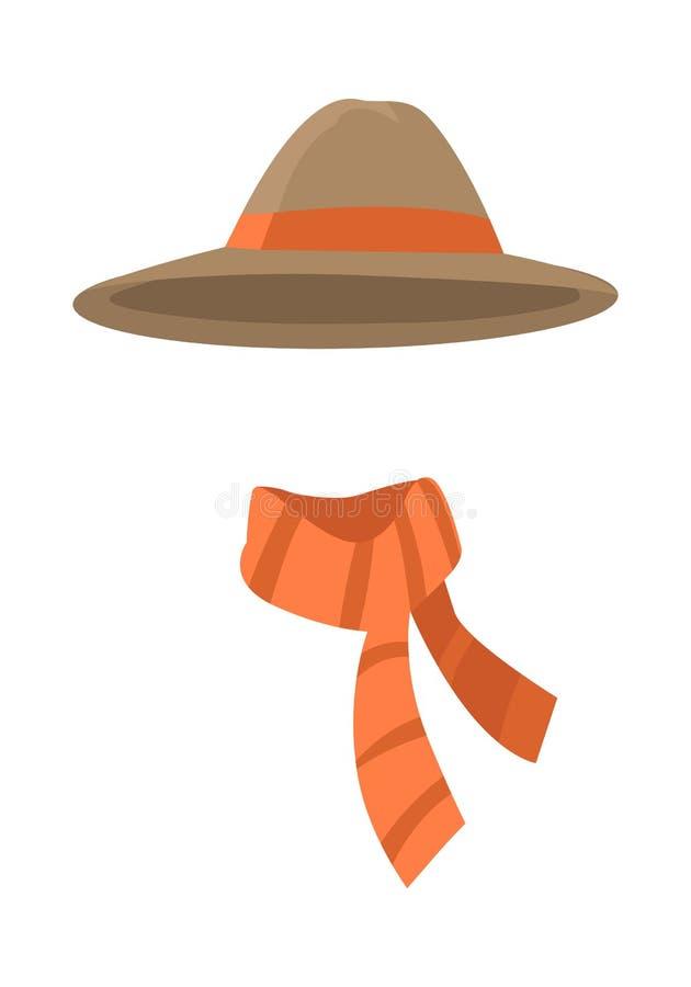 Καφετί καπέλο Longedged με το μακροχρόνιο πορτοκαλί διάνυσμα λωρίδων διανυσματική απεικόνιση