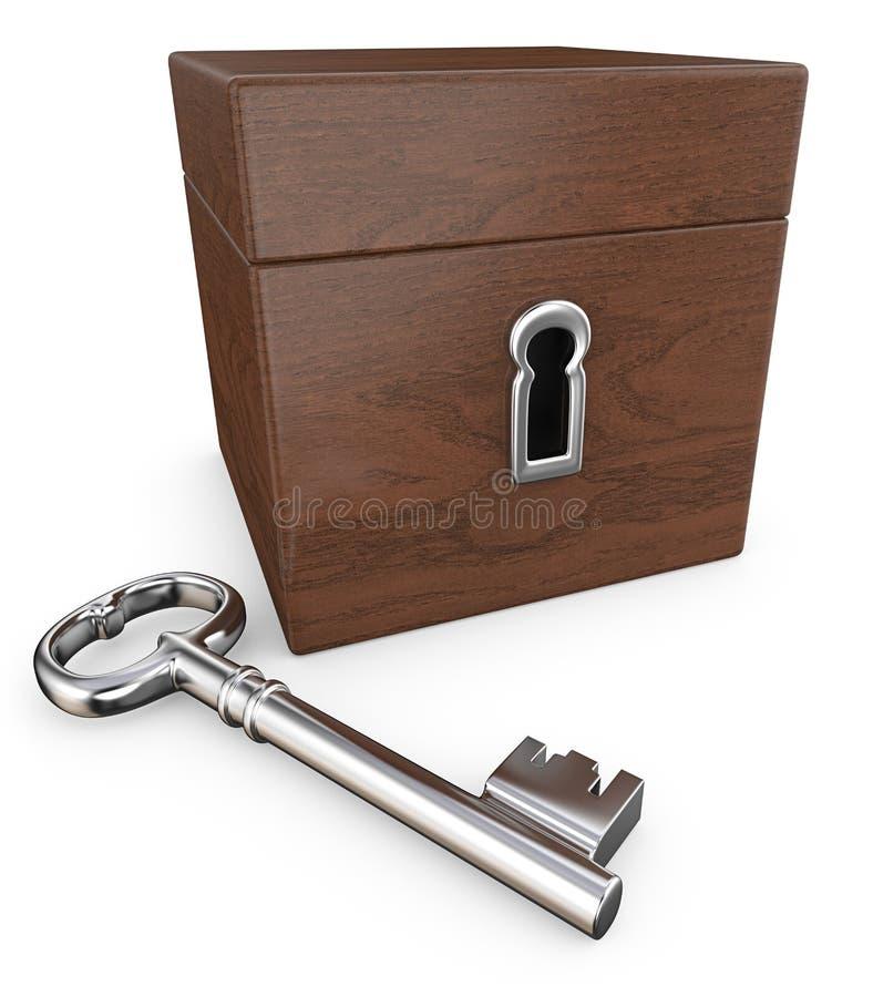 Καφετί κιβώτιο με την κλειδαριά και το κλειδί στοκ εικόνα