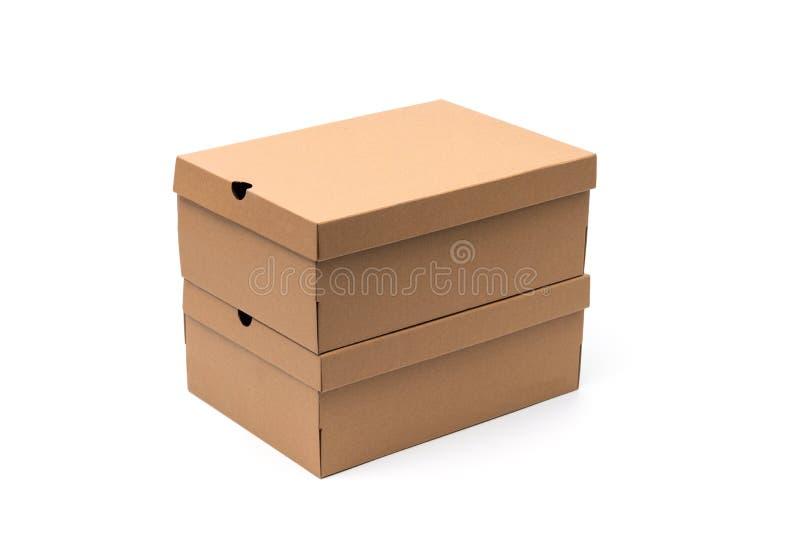 Καφετί κιβώτιο παπουτσιών χαρτονιού με το καπάκι για το προϊόν π παπουτσιών ή πάνινων παπουτσιών στοκ φωτογραφία με δικαίωμα ελεύθερης χρήσης