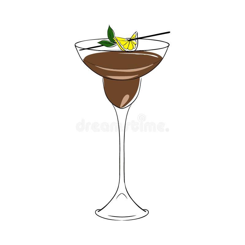 Καφετί κοκτέιλ, που διακοσμείται με το λεμόνι και τη μέντα διάνυσμα απομονωμένος συρμένος εικονογράφος απεικόνισης χεριών ξυλάνθρ απεικόνιση αποθεμάτων