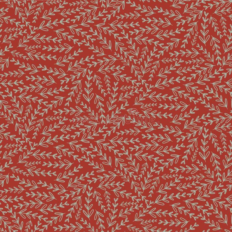Καφετί κόκκινο άνευ ραφής σχέδιο σύστασης φύλλων floral ελεύθερη απεικόνιση δικαιώματος