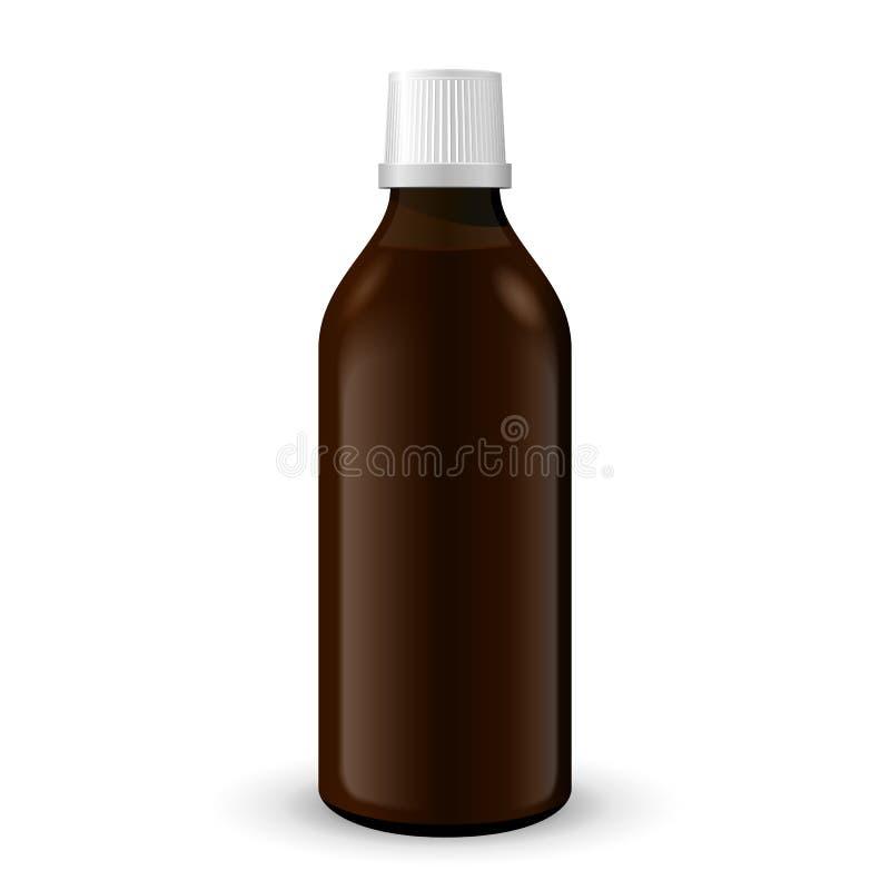 Καφετί μπουκάλι ιατρικού ή γυαλιού οινοπνεύματος στο άσπρο υπόβαθρο που απομονώνεται Έτοιμος για το σχέδιό σας Συσκευασία προϊόντ διανυσματική απεικόνιση