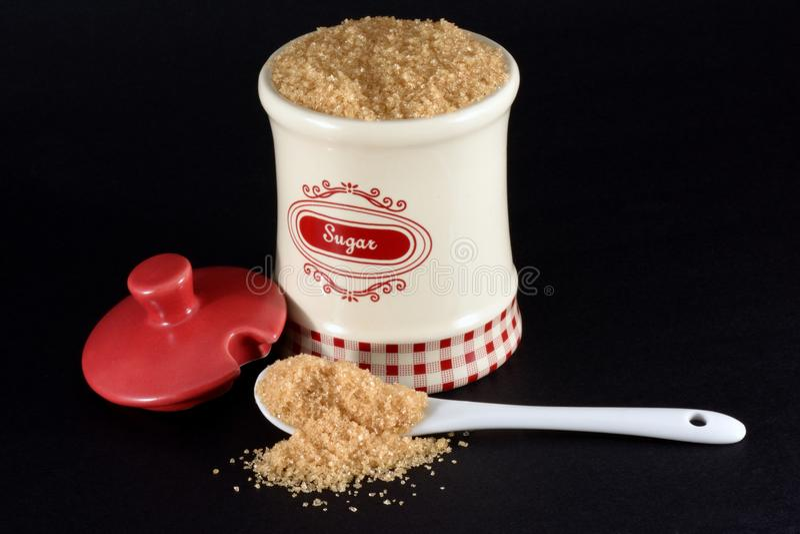 Καφετί δοχείο ζάχαρης στοκ φωτογραφίες